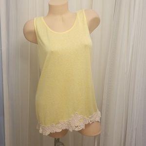 Charming Charlie's Yellow Crochet Tunic Top Size M